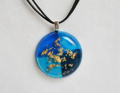 Handmade Nautical Blue Round Gold Flakes Resin Necklace Jewelry Accessory