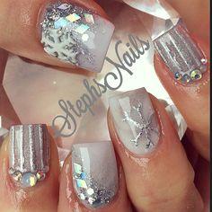 Silver Christmas nails
