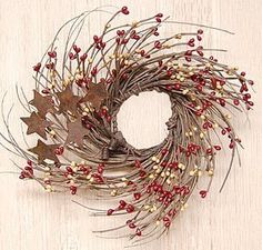 """Burgundy and Old Gold Pip and Twig with Rusty Star Wreath, 7"""""""