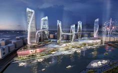 The Linked Towers are UNStudio's proposal for the Tongzhou Central Business District in Beijing, China. A dynamic composition consisting of six towers, the desi A As Architecture, Futuristic Architecture, Contemporary Architecture, Creative Architecture, Architecture Portfolio, Studio Condo, Un Studio, Commercial Complex, Central Business District