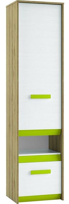 BEST 06 REGAŁ - regał zamknięty z bieliźniarką i z szufladą, z kolorowymi wstawkami do wyboru Mebel z płyty laminowanej, o nowoczesnym i funkcjonalnym kształcie, drzwiczki uniwersalne montowane jako lewe lub prawe. BEST 06 REGAŁ wchodzi w skład mebli systemowych BEST