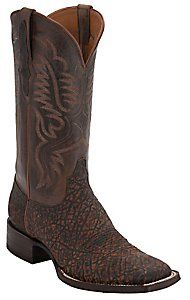 Black Jack� Men's Safari Cognac Elephant w/ Brown Goat Top Square Toe Exotic Western Boots