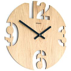 Meridiana Wall Clock 299, Oak Wood Unique Clocks, Cool Clocks, Modern Tv Wall Units, Wall Clock Design, Intarsia Woodworking, Modern Clock, Diy Clock, Wood Slab, Handmade Furniture