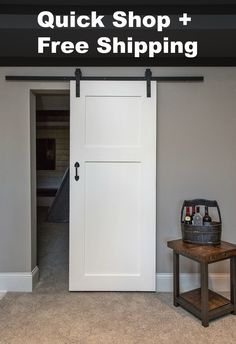 What's included with this barn door package: Lush 2 panel x Paint grade. Pattern on both sides. Will fit most standard door openings. Classic Wh - March 02 2019 at Bathroom Doors, White Paneling, Barn Door Hardware, Door Latches, Interior Barn Doors, Basement Remodeling, Sliding Doors, Home Projects, House Plans