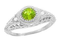Art Deco Engraved Peridot and Diamond Filigree Ring in 14 Karat White Gold