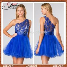 Vogue One Shoulder Royal Blue Short Summer Prom Dress Gown Lace For Girls Sexy Mini Graduation Homecoming Dress 2014 $78.00
