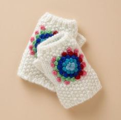 simple fingerless gloves with french knot decoration