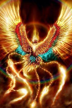 Imagem através do We Heart It #art #bird #blue #fantasy #golden #jewel #red #pheonix