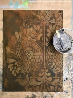 painting Wallpaper Plaster Walls JawDropping Wall Plaster Finishes with Stencils & NovaColor Damask Wall Stencils, Large Wall Stencil, Bird Stencil, Stencil Painting On Walls, Large Stencils, Painting Wallpaper, Stencil Art, Stenciling Walls, Wall Wallpaper