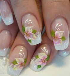 For tropical nails, shades of blue, pink, orange, and green work just perfectly. We have gathered some 50 hot tropical nail art designs. Flower Nail Designs, Simple Nail Art Designs, Easy Nails, Simple Nails, Tropical Nail Art, Bridal Nail Art, Nail Designs Pictures, French Nail Art, Floral Nail Art