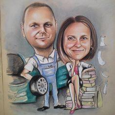 mechanic and accountant caricature. Perfect gift for parents <3  Zobacz na Instagramie zdjęcie użytkownika @joan_dart_drawings • Polubienia: 8