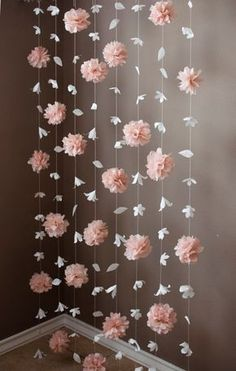Paper Flower and Tissue Paper Puff Garland by KMHallbergDesign Mais