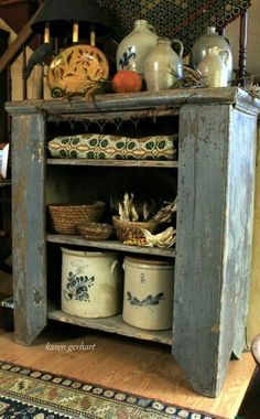 blue cupboard, stoneware