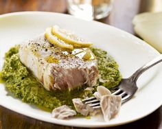 Swordfish Poached In Olive Oil With Broccoli Rabe Pesto by Giada De Laurentiis | Giada De Laurentiis