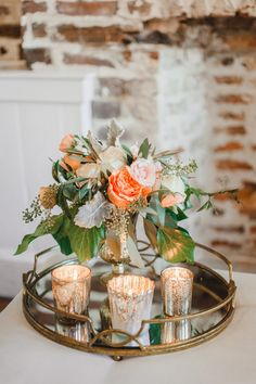 wedding reception at upstairs at midtown w/ mirror tray + gold votives | florals by branch design studio | upstairs at midtown | photo by priscilla thomas | king street hospitality group
