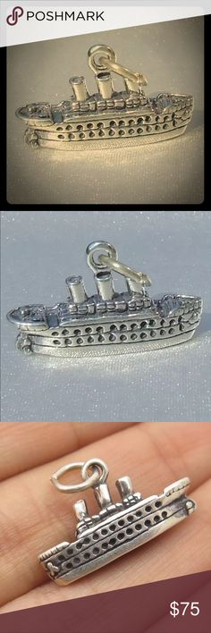 Vintage Cruise ship traditional charm/ pendant Vintage Sterling silver Cruise ship traditional 3D charm or pendant. Both sides are Very well detailed. Gently used, excellent used condition. Jewelry Necklaces