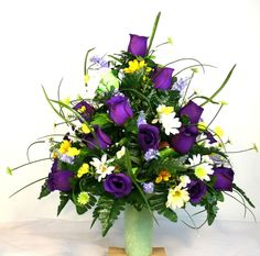 Spring Cemetery Vase Flower Arrangement Featuring Purple Roses and Wildflowers #Crazyboutdeco