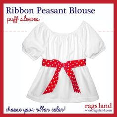 Our Rags Land Puff Sleeve Dots Ribbon Peasant Blouse!  Show Now at www.ragsland.com
