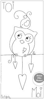 Owl coloring page. Images are for a bookmark but this would make a great embroidery pattern
