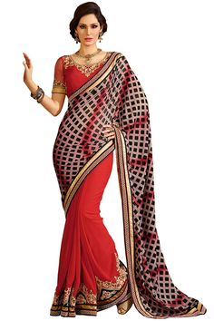 Buy online Sarika saree with blouse from our store Styloshopper.