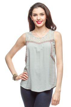 Ya sleeveless top with contrast lace and trim detail. @Ya LosAngeles