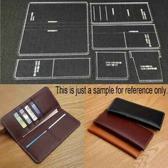 Suitable for making simple leather long wallet. This item just a Acrylic board tool, not the leather finished product. DO NOT DUPLICATE OR COPY! Ideal tool for the leather handcrafts lovers. Diy Wallet Pattern, Coin Purse Pattern, Leather Wallet Pattern, Purse Patterns, Diy Leather Craft Tools, Leather Crafts, Diy Long Wallet, Leather Working Patterns, Creations