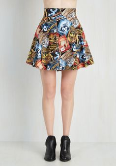 Feeling Playful Skirt in Scary Movies. Lift your spirits while scoring major style points in this printed circle skirt! #black #modcloth