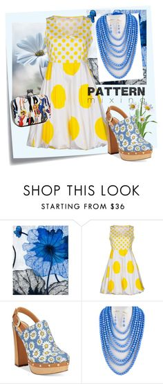 """""""Daisies & Dots"""" by shoppe23online ❤ liked on Polyvore featuring Post-It, Grandin Road, Blugirl Folies, Report and patternmixing"""