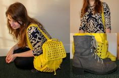 Studded Yellow Backpack, Moow Grey Lace Up Boots, Indulgence London Floral Pattern Navy And Cream Dress Top