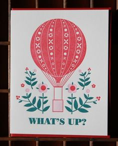 what's up greeting card on Etsy, $4.50