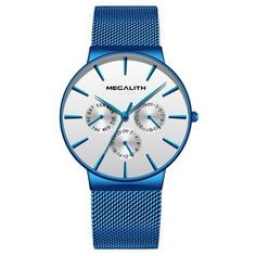 Relogios Masculino MEGALITH Men Watches 2018 Luxury Brand Ultra Thin Date Clock Male Mesh Strap Casual Sports Quartz Watches Men From Touchy Style Outfit Accessories ( black gold ) Cheap Watches, Cool Watches, Watches For Men, Wrist Watches, Men's Watches, Affordable Watches, Expensive Watches, Watches Online, Luxury Watches