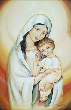 Our Lady and the Child Jesus Blessed Mother Mary, Blessed Virgin Mary, Catholic Art, Religious Art, Virgin Mary Art, Holly Pictures, Images Of Mary, Christian Pictures, Jesus Faith