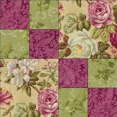 RJR Arabella Rose Floral Raspberry Mauve Green Fabric Pre-cut Quilt Block Kit in Crafts, Sewing & Fabric, Quilting Quilt Square Patterns, Beginner Quilt Patterns, Quilting For Beginners, Square Quilt, Pattern Blocks, Purple Quilts, Green Quilt, Green Fabric, 4 Patch Quilt