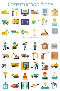 48 construction icons in flat style by Macrovector on Creative Market