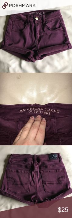 Shorts Maroon high wasted shorts from American eagle! Only worn a few times American Eagle Outfitters Shorts Jean Shorts