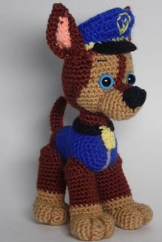 Paw Patrol Chase crochet pattern  English PDF by Ambercraftstore