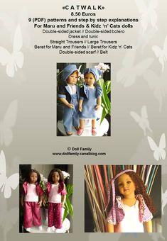 """catwalk"" - english : patrons-et-modeles par doll-family Straight Trousers, Cat Doll, Pdf Patterns, American Girl, Catwalk, Friends, English, Dolls, Jackets"