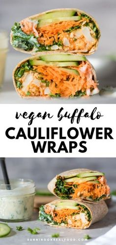 Vegan buffalo cauliflower wraps with creamy ranch dressing. Made with buffalo cauliflower bites, kale, cucumber, carrot, avocado and a tangy vegan ranch dressing. #wickedspatula #vegan #wrap Vegan Buffalo Cauliflower, Cauliflower Recipes, Cauliflower Wings, Wraps Vegan, Vegan Ranch Dressing, Cucumber Dressing, Dressing Recipe, Healthy Sweet Snacks, Healthy Food