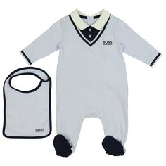 5417c8d99a5b Baby Boys Blue Pyjama and Bib Set with Navy Detailing   Free UK Delivery    Returns on all orders