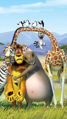 ↑↑TAP AND GET THE FREE APP! Cartoons Madagascar Penguins Lemur Alex Lion Marty Zebra Melman Giraffe Gloria Hippo Colorful Africa Funny Super Cool Movie for Kids HD iPhone 6 plus Wallpaper