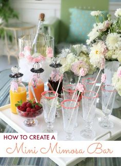 Add some glamour to your next brunch with this mini mimosa bar. Super simple to recreate and your guests will be astounded by your creativity. Well, at the very least they will get a buzz from imbibing your glorious display. | The Glamorous Housewife