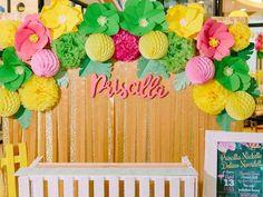 Photo backdrop from a Tropical Flamingo Themed Birthday Party via Kara's Party Ideas - KarasPartyIdeas.com (19)