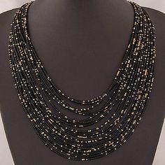 New Bohemia Women Multilayer Beads Choker Bib Statement Necklace Pendant Jewelry