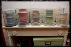 wonderful idea for ribbon storage--CD containers