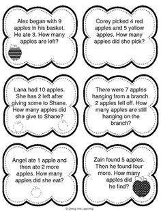 Word Problems: Apple Theme (First Grade) Elementary Math, Kindergarten Math, Teaching Math, Maths, Preschool, 1st Grade Math Worksheets, First Grade Math, Printable Worksheets, Math Story Problems