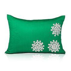 Emerald Green Crystal Snowflake Pillow