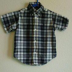 RALPH LAUREN TODDLER BOY 3T black gray plaid short sleeve button shirt casual #RalphLauren #DressyEverydayHoliday