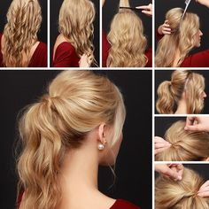 """""""want to show off your backless holiday dress, or need to spruce up that second-day hair? grab your curling iron and give our Party Perfect Ponytail Hair…"""""""