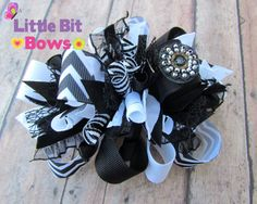 Black and White Chevron Boutique Funky Bow by LittleBitBows
