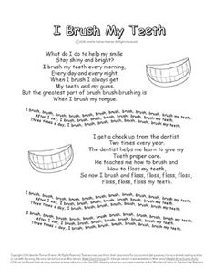 """Children learn how to care for their teeth in """"I Brush My Teeth."""" Use as a poem, or use with the song. The music for this song is a lot of fun. Dental Kids, Dental Care, Dental Hygiene, Dental Health Month, Oral Health, Transition Songs, Kids Health, Health Unit, Brush My Teeth"""